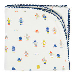 Auggie Home Collection - Robot March Baby Blanket, Cobalt - Tiny robots march across this super soft reversible blanket. Colorful robots adorn one side; our painted stripe print in cobalt the other making this baby blanket a cosy match to our new Infant Sleep Sets.