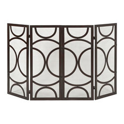 Antique Bronze Circles Fireplace Screen - *The Winnoa fireplace screen has a modern circular pattern and four screened panels in a black finish. Looks great in a variety of interiors by designer Melissa Vasquez.