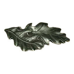 Anne at Home Hardware - Oak Leaves Knob, Black w/ Chocolate Wash - Made in the USA - Anne at Home customized cabinet hardware enables even the most discriminating homeowner to achieve the look of their dreams.  Because Anne at Home cabinet hardware is designed to meet your preferences, it may take up to 3-4 weeks to arrive at your door. But don't let that stop you - having customized Anne at Home cabinet knobs and pulls are well worth the wait!   - Available in many finishes.