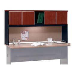 Bush Business - 72 in. Straight Hutch in Hansen Cherry - Seri - Our Straight Hutch in Hansen Cherry will get the clutter off your work area.  Its four closed cupboards and open book area, with a full tackboard below for stray papers and important notes, instantly helps you add the organization any office needs. * Convenient concealed storage area overhead. Add optional task lighting. Vinyl facade on door fronts. Tackboard on backpanel . finished back panel divides work stations. Self-closing adjustable hinges. Hansen Cherry finish. 71.535 in. W x 13.819 in. D x 36.496 in. H