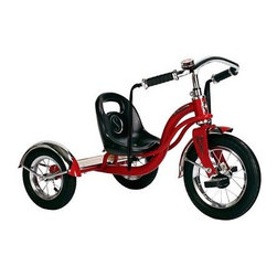Schwinn Roadster Tricycle - Red - Boys and girls alike will have the time of their lives cruising from one spot to the next on the Red Schwinn Roadster Tricycle. The saddle seat is adjustable to change as they do and the extra-low center of gravity helps prevent tipping over no matter how wild their adventures may get. The pneumatic tires provide a smooth-as-silk ride even outdoors and scalloped fenders over the tires add a fun retro flavor. Custom mustache handlebars add the finishing retro touch. This tricycle is classically constructed of heavy-duty steel and the back deck is made of real wood and features a burned-in logo. Your child will love the vibrant look and fun features and you'll love its nostalgic charm. About SchwinnCall it a 113-year-long second childhood. The folks at Schwinn just plain love to ride. Their eyes light up at the mere mention of the word the scent of bicycle chain lube makes them giddy the clicking of a freehub – well it gives them goose bumps. It's been that way for them for 113 years and they want you to feel that same cycling passion. From the full-on rocket ships and rugged commuters of their road bike line to the classic cruisers and bomb-proof mountain and BMX bikes and all the way down to the pint size sidewalk models these Schwinn bicycles are guaranteed to get your heart racing and your spirit soaring. Schwinn: it's for life.