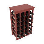 24 Bottle Kitchen Wine Rack in Pine with Cherry Stain + Satin Finish - Petite but strong, this small wine rack is the best choice for converting tiny areas into big wine storage. The solid wood top excels as a table for wine accessories, small plants, or whatever benefits the location. Store 2 cases of wine in a space smaller than most televisions!