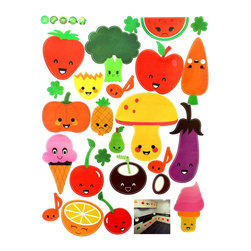 Blancho Bedding - Fruits and Vegetable - Wall Decals Stickers Appliques Home Decor - The decals are made of a high quality, waterproof, and durable vinyl and will stick to any smooth surface such as walls, doors, glass, cabinets, appliances, etc. You can add your own unique style in minutes! This decal is a perfect gift for friend or family who enjoy decorating their homes. Imaginative art for you and won't damage your walls! Without much effort and cost you can decorate and style your home. Quick and easy to apply~!!!