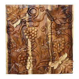 Kammika - Grapes 3D Wall Panel Sust Wood 30x30x2 inch w Eco Friendly Livos Clear Oil Fin - Our Sustainable Monkey Pod Wood with Eco Friendly Natural, Food-safe Livos Clear Oil Finish Grapes 3D 30 inch x 30 inch x 2 inch thickness wall panel depicts a scene reminiscent of a vineyard in autumn where grapes dangle in full ripeness awaiting the annual harvest. The larger leaves and grape bunches are separate pieces attached over the carved panel scene making them jump out in 3D relief. Each panel is carved out of joined panels of Monkey Pod wood. To make hanging easier, there are two embedded flush mount Keyhole hangers for a protruding screw from your wall. Hand carved by craftspeople in Thailand - who spend hours meticulously shaping, sanding, and finishing these wonders of wood, the talent behind these creations is readily visible. The panels are made of sustainable wood grown specifically for the woodcarving industry, and are rubbed in Livos Clear Oil that is polished to a water resistant and food safe matte finish. Color ranges from medium to dark Walnut brown tones that will darken as the wood ages. These natural oils are translucent, so the wood grain detail is highlighted. There is no oily feel; and cannot bleed into carpets, as it contains natural lacs. We make minimal use of electric hand sanders in the finishing process. All products are dried in solar or propane kilns. No chemicals are used in the process, ever. Each eco friendly functional art piece is kiln dried, sanded, rubbed with Livos Clear Oil; and then they are packaged with cartons from recycled cardboard with no plastic or other fillers. As this is a natural product, the color and grain of your piece of Nature will be unique, and may include small checks or cracks that occur when the wood is dried. Sizes are approximate. Products could have visible marks from tools used, patches from small repairs, knot holes, natural inclusions or holes. There may be various separations or cracks on your piece whe