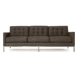 Thrive Home Furnishings - Sullivan Sofa, Klein Granite - Things are definitely lining up in your favor. Like the crisp, contemporary lines of this three-over-three sofa. And what's not to like about the billowy comfort of tufted cushions without the bumps of buttons? It's something to appreciate as everyone heads over to the sofa after sunset.
