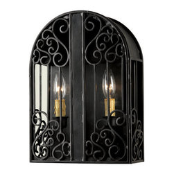 """World Imports - World Imports WI5252 2 Light Outdoor Wall Sconce from the Sevilla Collection - 2 Light Outdoor Wall Sconce from the Sevilla CollectionStyled after intricately hand-wrought iron gates and """"peek-throughs"""" of grand entrance doors across Europe. Sevilla brings that style of ironwork into your foyer with three choices of sizes. All foyer pieces are glassless for ease of maintenance."""