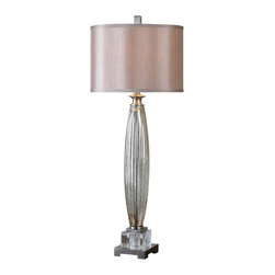 Uttermost - Uttermost Loredo Mercury Glass Table Lamp - Loredo Mercury Glass Table Lamp by Uttermost Fluted Mercury Glass With Brushed Nickel Plated Details And Crystal Accents. The Round Hardback Is A Silken Champagne Bronze Fabric.
