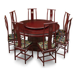 "China Furniture and Arts - 66in Rosewood Ming Design Round Dining Table with 8 Chairs - Exhibiting its pleasing simple lines in a distinct Ming (1368-1644) style, this exquisite dining set is a fine example of contemporary Chinese furniture. Completely handmade of solid rosewood by artisans in China using traditional joinery techniques. One removable lazy Susan is included for your convenience. Its classic rosewood cherry finish rounds out its quiet beauty. Each chair has an open Chinese longevity motif carved on the back. Chair dimensions: 18""x17""x48""H."