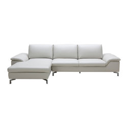Zuri Furniture - Grey Cigale Leather Sectional - Left Chaise - The Cigalecomes dressed in simple, elegant, light taupe leather just waiting to impress. Exhausted? the adjustable back cushions let you sit back, relax and enjoy unique,matchless comfort.
