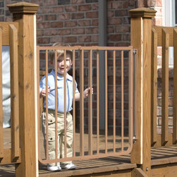 Cardinal Gates - Stairway Special Outdoor Gate - The Stairway Special Outdoor Gate (Model SS-30OD) is a maximum safety gate for children or pets. Great for decks! No other gate works as well for outdoor use. It's rustproof! Designed for the top of a stairway but great for all areas. Features: -Outdoor Gate.-All stainless steel hardware - no plastic parts.-Rustproof gate great for decks, patios and outdoor use.-Latch system that baffles toddlers yet allows one hand operation for adults.-Optional stop bracket prevents opening over a stairway for greater safety.-Mounts at angles up to 30 degrees.-Constructed of aluminum which is lighter than steel.-Color: Brown.-Powder coated finish provides a long-lasting, easy to clean surface.-Distressed: No.Dimensions: -29.5'' H x 27-42.5'' W, 11 lbs.-Overall Product Weight: 11 lbs.