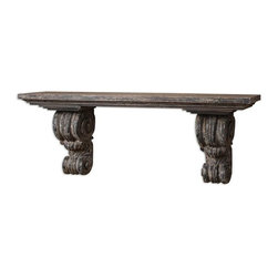 Uttermost - Lavina Shelf - Heavily distressed, slate blue finish with aged wood undertones and rustic ivory accents.