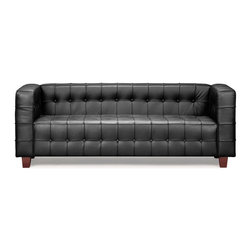 Zuo Modern - Zuo Modern Button Modern Sofa X-052009 - With sophisticated ribbing and button pattern, the appropriately named Button series has all leather seating surfaces with leatherette back and sides and solid wood legs.
