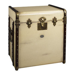 """Authentic Models - Authentic Models Ivory Stateroom End Table - Victorian luggage was made to be shipped by horse drawn coach and train travel. It was sent ahead and handled by porters only. The tall square shape of our 'end table' trunk was made to fit more easily into tight steamer and long distance train cabins, plus it easily swallowed a tall black stovepipe hat! The classic maple hoops strengthened by brass corners and other hardware were designed to protect against damages. Enjoy the flavor of a bygone luxury age and combine it's fin-de-siecle appeal with practical storage!         *Dimensions: 17.75"""" x 21"""" x 22"""""""