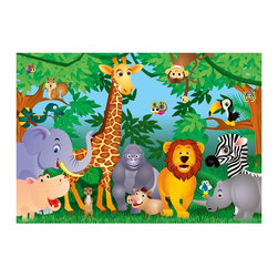 "Ideal Decor - Ideal Decor Brewster In The Jungle Wall Mural - Bringing the beloved children's song to life, the In the Jungle mural is a happy decor idea for a kids room. Colorful animals pop out of the trees to smile and pose.  This mural is 12' x 8'4"", contains 8 panels, Paste Included Printed on Vinyl Coated Paper Imported.Dimensions: Measures 3"" wide by 38.5"" long by 3"" tall/deepMaterial: 50% Paper/50% VinylCare Instructions: Wipe with a damp cloth"