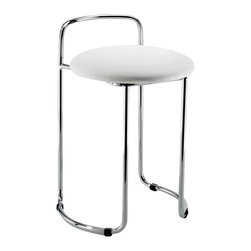 Modo Bath - Harmony 501 Stool in Chrome with Black or White Top - Harmony 501 Stool in Chrome with Black or White Top