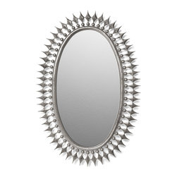 Kathy Kuo Home - Wellington Oval Hollywood Regency Starburst Radiant Mirror- Silver - In the world of Hollywood Regency mirrors, this is a serious scene stealer. Striking spikes radiate from an elongated oval shape while luminous silver leafing creates a luxurious glow.  Traditional yet unorthodox, this contemporary silver oval mirror would be the star in just about any room.