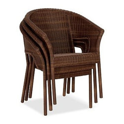 "Palmetto All-Weather Wicker Stacking Chair, Honey - Decorate a small outdoor space with the style and ease of all-weather wicker. Crafted with slender Ecolene(R) strands that are variegated to replicate wicker's color and texture, these stacking chairs are completely weatherproof and maintenance-free. Click to read an article on {{link path='pages/popups/palmetto-care_popup.html' class='popup' width='640' height='700'}}recommended care{{/link}}. 26.5"" wide x 24"" deep x 34"" high Woven from slender honey strands that are variegated to replicate wicker's rich texture. Synthetic fibers are superbly weather resistant. Cutouts under arms allow chairs to be stacked for easy storage. Includes quick-drying seat cushion and a water-repellent polyester canvas slipcover in Natural; imported. Get a colorful update with additional slipcovers (sold separately) in water-repellent, ring-spun polyester canvas, or fade and stain-resistant Sunbrella(R) fabric; imported. Sunbrella(R) cushions and slipcovers are special order items which receive delivery in 34 weeks. Please click on the shipping tab for shipping and return information. Machine wash slipcover. View our {{link path='pages/popups/fb-outdoor.html' class='popup' width='480' height='300'}}Furniture Brochure{{/link}}."