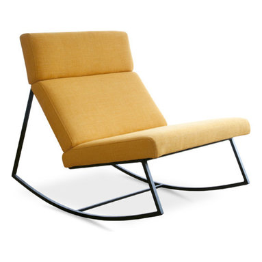 Gus Modern - GT Rocker, Laurentain Citrine - GT Rocker by Gus Modern. The perfect modern rocking chair! Sleek and simple with a powder-coated black steel base and architecturally-styled cushions/ The GT Rocker design was inspired by airport lounge seating and retro car interiors. Choose from three soft and durable fabrics.
