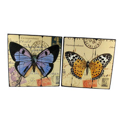 Pair of Square Wooden Butterfly Plaques - This pair of square wall plaques is a lovely addition your home. Each one features a colorful butterfly over a print of passport stamps. Made of wood, they measure 10 inches tall, 10 inches wide, 1 1/2 inches deep and they easily mount to the wall with a single nail or screw.