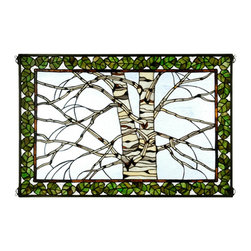Meyda Tiffany - Meyda Tiffany Birch Tree in Winter Tiffany Window X-83583 - Green tree and a beautiful birch tree design create an elegant feel on this Meyda Tiffany Tiffany window. From the Birch Tree in Winter Collection, this soft design features green toned trim and an off-white birch tree that is complimented by the light coordinating tones of the winter sky backdrop.