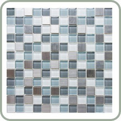 "Design For Less - Mist Stainless and Glass Mosaic Tile - Green and white glass mosaic tile blended with stainless steel tile which is 8mm or 1/3"" thick glass tile with a baked polypropylene backing for maximum color continuity and radiance and stainless steel on a ceramic tile. Ideal for kitchen backsplashes, bathroom tile and decorative accents."