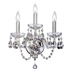 Joshua Marshal - Three Light Chrome Imperial Crystal Glass Wall Light - Three Light Chrome Imperial Crystal Glass Wall Light