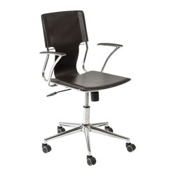 Eurø Style - Terry Office Chair in Brown Leatherette - With leatherette seat, back and armrests, this Terry Office Chair in Brown will help you to create a productive working environment.