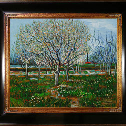 "overstockArt.com - Van Gogh - Orchard in Blossom (Plum Trees) Oil Painting - 20"" x 24"" Oil Painting On Canvas Hand painted oil reproduction of one of the most famous Van Gogh paintings, Orchard in Blossom (Plum Trees). The original masterpiece was created in 1888. Today it has been carefully recreated detail-by-detail, color-by-color to near perfection. Why settle for a print when you can add sophistication to your rooms with a beautiful fine gallery reproduction oil painting? Vincent Van Gogh's restless spirit and depressive mental state fired his artistic work with great joy and, sadly, equally great despair. Known as a prolific Post-Impressionist, he produced many paintings that were heavily biographical. This work of art has the same emotions and beauty as the original by Van Gogh. Why not grace your home with this reproduced masterpiece? It is sure to bring many admirers!"