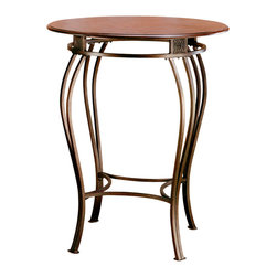 Hillsdale Furniture - Hillsdale Montello Round Wood Top Bistro Table in Old Steel - Drama and style are defined in Hillsdale House's Montello bistro ensemble. Sweeping interlocking circles, intricate complimentary castings and elegantly curved legs combine to create a collection with grace, movement and elegance. Finished in a dynamic old steel with distressed brown faux leather seats and cherry wood accents, this group offers an exciting look second to none.