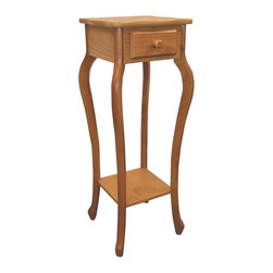 ORE International - Plant Stand w Scalloped Top - Lower shelf. Storage drawer. Flared legs. Made of wood composite. 11.5 in. W x 11.5 in. D x 32.5 in. H (13 lbs.)Use as a plant stand or telephone table. Warm with a country inspired style. This will be a versatile addition to your home's decor. Perfect for displaying art objects or decorative items,