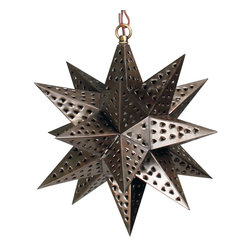 """Small Punched Tin Hanging Star Light - Reach for the stars and add a bit of southwestern ambiance to your room or patio with this punched tin star light. Handcrafted and punched by Mexican metalcrafters, color and finish may vary slightly. 12.5"""" dia. Visit our website for more options. Free shipping in the continental US."""