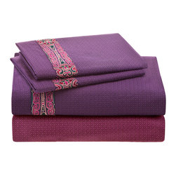 Natori - Natori La Pagode 300TC Flat Sheet - The deep amethyst Natoribamboo�� fitted sheet and pillowcases are made of obi jacquard while the top sheet features the same embroidery pattern along with a lovely color contrast in plum. 300TC, 52% viscose made from bamboo, 48% cotton obi with embroiderey cuff