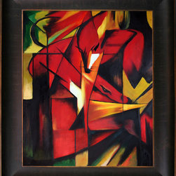 """overstockArt.com - Franz Marc - The Fox Oil Painting - The Fox is a handmade oil painting originally created by Franz Marc in 1913. It would make a wonderful gift for anyone who loves foxes. Franz Marc was born on February 8, 1880, in Munich, Germany. He studied at the Munich Art Academy, and in the early years of the Twentieth Century became an influential figure in the birth of abstract art. In 1911 Marc founded the almanac """"Der Blaue Reiter"""" along with Wassily Kandinsky, and was a principal member of the First German Salon Automne in 1913. Much of his work was based upon exuberant color and profound emotional and spiritual states. Franz Marc saw animals as innocent beings in harmony with nature. He attempted to paint the world from the animal's perspective. Marc volunteered for service in World War I, and was killed near Verdun, France, on March 4, 1916. Despite his early death at the age of thirty-six, Marc was responsible for some of the most important pieces of the Expressionist movement. Why not grace your home with this reproduced masterpiece? It is sure to bring many admirers!"""