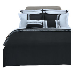 "Emma 3 Piece Duvet Cover Set - Full/Queen - Black/White - The Emma Duvet Cover Set is a great addition to any bedroom. Featuring an embroidered Greek key design and wrinkle resistant microfiber fabric this duvet adds a bold new look to any bedroom. Set includes: (1) Duvet Cover 90x92"" and (2) Pillow Shams 20x26""."