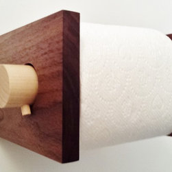 Modern Toilet Paper Holder Mid Century Style in Walnut by MOD-RAK - Mid century modern style toilet paper holder handmade in Oregon using solid reclaimed walnut with a poplar hardwood bar. This piece fits jumbo rolls and is much easier for changing compared to typical plastic versions. No stains used. Offered in oil and beeswax or low voc water based polyurethane sealers.