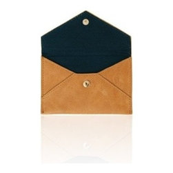 Russell + Hazel - Business Card Holder, Camel by Russell + Hazel - Ideal for business cards and credit cards, this stylish and functional mini leather envelope comes complete with a complimentary cotton twill lining. Snap enclosure keeps your belongings safe.