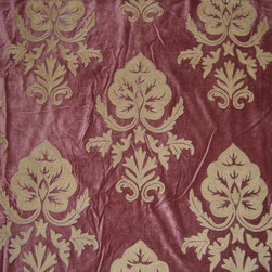 Crewel Fabric Konark Tan on Harvest Coffee Cotton Velvet- Yardage - Fabric Type: Cotton Velvet