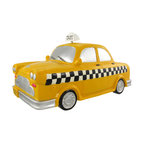 Large Yellow Taxicab Piggy Bank Money Coin Taxi Cab - This cool cold cast resin yellow taxicab money bank really brightens up a room. The cab measures 6 1/2 inches tall, with it's spring mounted 'Taxi' sign, 12 3/4 inches long and 6 3/4 inches wide. The bank empties via a twist-off plastic piece on the bottom. It is hand-painted, and makes a great gift for auto lovers.
