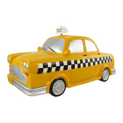Large Yellow Taxicab Piggy Bank Money Coin Taxi Cab - This cool cold cast resin yellow taxicab money bank really brightens up a room. The cab measures 6 1/2 inches tall, with it`s spring mounted `Taxi` sign, 12 3/4 inches long and 6 3/4 inches wide. The bank empties via a twist-off plastic piece on the bottom. It is hand-painted, and makes a great gift for auto lovers.