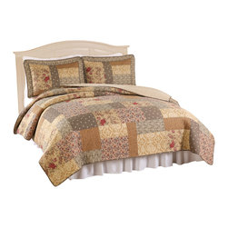 Pem America - Heather Twin Quilt with 2 Shams - Classic patchwork quilt with a modern yet traditional looks. 100% cotton, hand pieced fabrics make the face of this quilt and the cotton fill provides a great weight and feel. Includes 1 twin size quilt and 1 pillow sham. 100% cotton face cloth with 94% cotton / 6% other fiber fill.  Prewashed for softness. Machine washable.