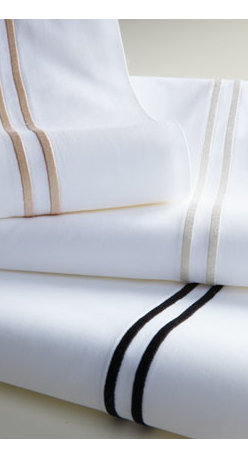 SFERRA - SFERRA Two Standard Pillowcases - Inspired by bedding in the world's finest hotels. Crisp white, 200-thread-count, Italian-spun Egyptian cotton percale is framed with a double row of satin stitching in Taupe, White, or Black. Select color when ordering. Solid white fitted sheets hav...