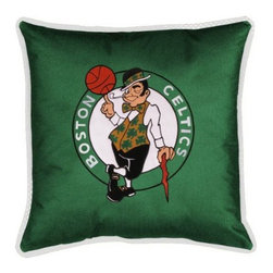Sports Coverage - Sports Coverage NBA Boston Celtics Sideline Toss Pillow - Make that new officially licensed NBA Boston Celtics Sidelines Toss Pillow look as good as it feels. A must have for any true fan. A New Design - Same great quality!! Coordinating Toss pillow to match jersey material logo Comforter. Each Pillow is made from 100% polyester jersey material (just like the athlete's wear). Pillow has large team logo in the center of the pillow, as well as a strip of mesh trim around it.   Features:  - Toss Pillow is 17 x 17,   - Poly/Cotton bottom side,   - 100% Polyester Cover and Fill,   - Sidelines is trimmed in teams secondary color,   - 100% Polyester Jersey,   -  Spot Clean only ,