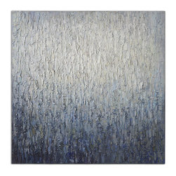Uttermost - Outside the Window Hand Painted Art - This heavily textured, hand-painted canvas makes you glad to be inside. It feels like rain coating a window. Frameless, it's ready to be hung where you can appreciate the fine application of paint, from the palest cream to darkest blue.