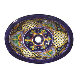Casa Daya Tile - Made to order Talavera Hand Painted Mediterranean  Style  Sink, Small - The styles are influenced by the beautiful Spanish architecture in the Guanajauto state of Mexico from the time the Spanish inhabited the area starting in the 1520's.