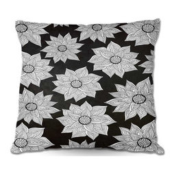 DiaNoche Designs - Pillow Linen - Pom Graphic Designs Elegant Floral - DiaNoche Designs works with artists from around the world to create astouding and unique home decor products.  Add a little texture and style to your decor with our Woven Linen throw pillows.  The material has a smooth boxy weave.  Each pillow is machine loomed, then printed and sewn ALL IN THE USA!!!  100% smooth poly with cushy supportive pillow insert with a hidden zip closure. Dye Sublimation printing adheres the ink to the material for long life and durability. Double Sided Print, machine wash upon arrival for maximum softness. Product may vary slightly from image.