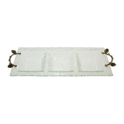 Thirsty Stone - 3 Section Glass Tray w Pewter Pine Cone Branch Accent - Hammered glass. Stylish Pewter accents. Hand wash. No assembly required. 23 in. L x 9 in. W x 1.5 in. H (3 lbs.)
