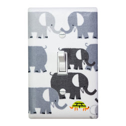 Elephant Nursery - Handmade light switch plates are a fun and creative way to add the perfect finishing touch to your child's room or baby nursery! This light switch plate features adorable gray elephants on a white background!