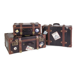 Imax Worldwide Home - Labeled Suitcases - Set of 3 - Multi function brown and black leather decorative suitcases with brass latches.  custom world travel label vinyl's. Chests/Cabinets/Storage/Trunks. 6.25-7.25-8 in. H x 15.5-18.25-21 in. W x 11.5-13.75-16 in. D. 60% Fir Wood, 20% Pvc, 15% Fabric, 5% Iron