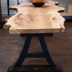 Free Edge Maple Dining Table with Industrial Base - Free Edge Maple Slab with Antique Industrial Machine Base