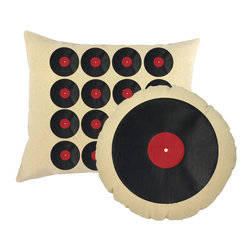 RoomCraft - Vinyl Records Throw Pillows Natural Round Rectangle Cushions - FEATURES: